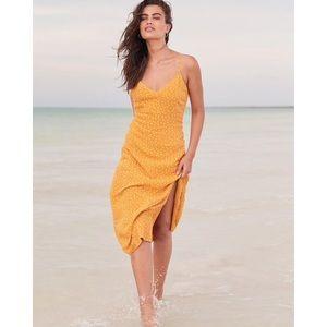 Abercrombie side slit midi dress yellow dot small